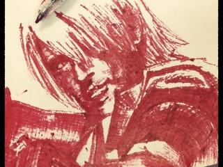 赤ボールペンで描いたDMC1ダンテ